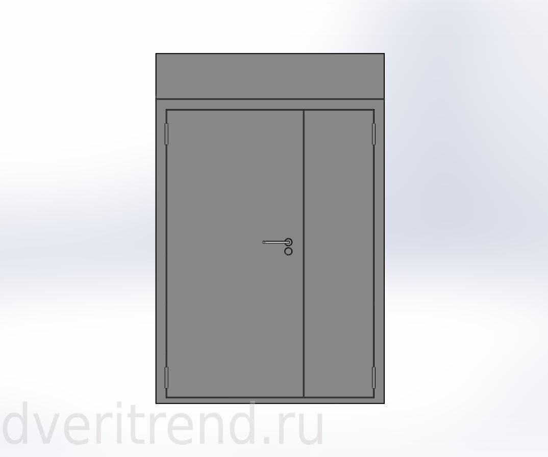 металлические двери двухстворчатые для подъезда с фрамугой