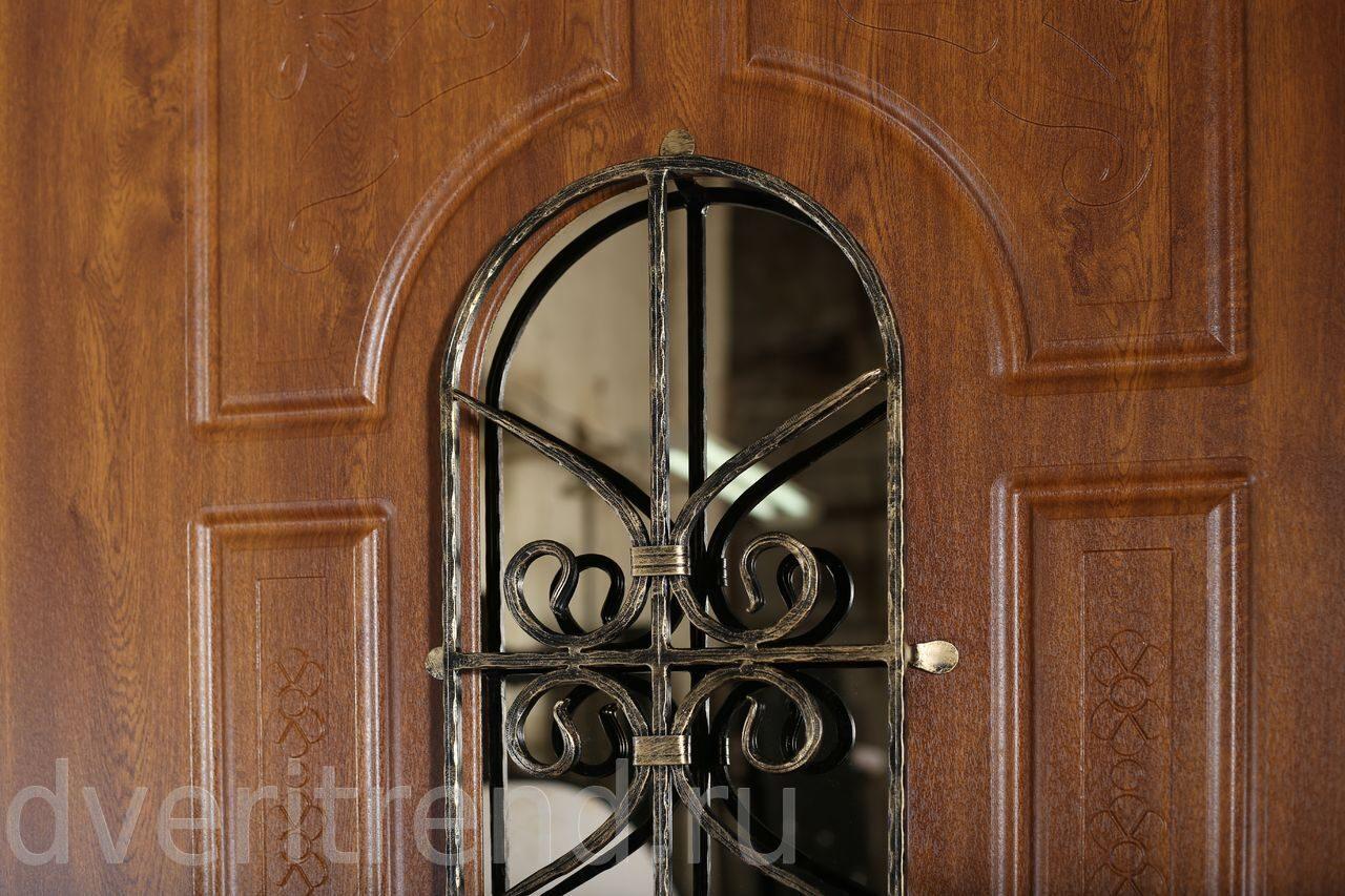 стальные двери с кованной вставкой
